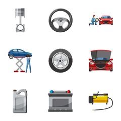 Repair machine icons set. Cartoon illustration of 9 repair machine vector icons for web
