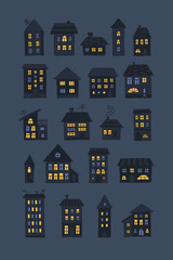 Set of doodle night houses