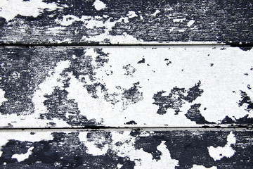 Wooden Panel with cracked paint, black and white craquelure, art