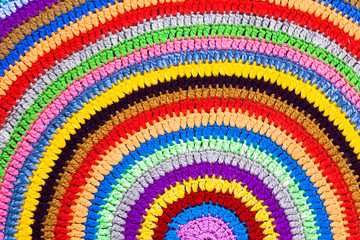 Multicolor knitted round carpet or rug