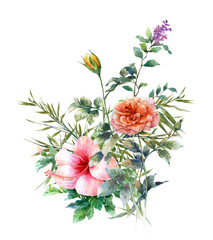 watercolor painting of leaves and flower, on white background