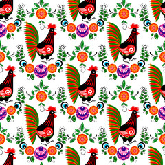folk rooster seamless pattern with flowers in cartoon style