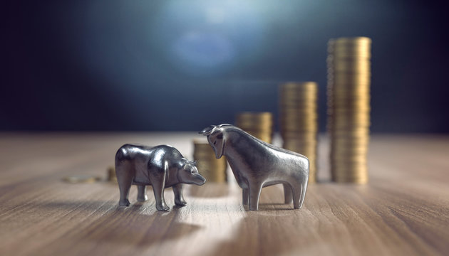 3d Bär und Stier mit Geldmünzen