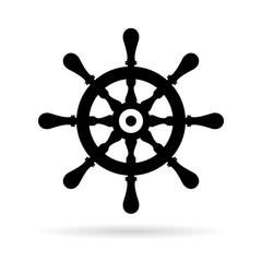 Ship steering wheel vector icon