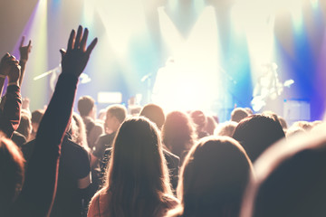Crowd of young people on rock concert