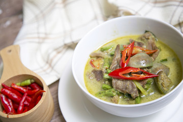 Thai food - green curry with chicken (Kang Keaw Wan Gai)