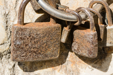Close up from som old and rusty padlocks