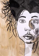 """Детский рисунок гуашью """"Портрет женщины"""" с использованием аппликации"""