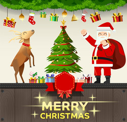 Santa decorate house with gifts at Christmas. Celebrated with joy. template message.Time of happiness.
