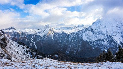 Snow covered mountain landscape