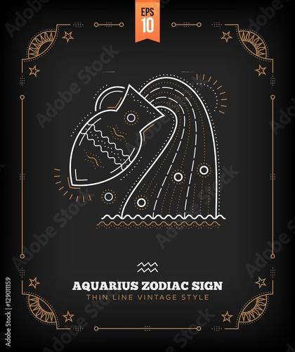 Vintage thin line Aquarius zodiac sign label  Retro vector