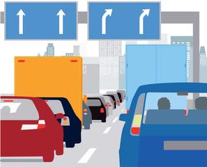 Verkehrsstau in der Stadt