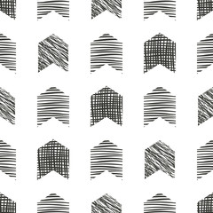 Seamless vector  geometrical pattern. Grey pastel endless background with  hand drawn textured geometric figures. Graphic  illustration