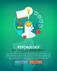 Set of flat design illustration concepts for psychology subject. Education and knowledge ideas. Eloquence and oratory art.