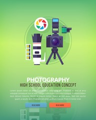 Set of flat design illustration concepts for photography. Education and knowledge ideas. Informational technologies and digital arts.