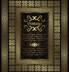 Vintage invitation with a gold frame and borders on seamless background