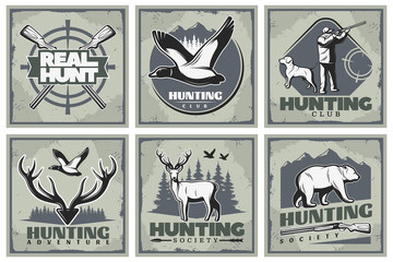 Hunting Adventure Posters Set