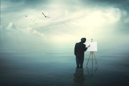 surrealistic painter artist in the water painting on a canvas