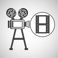 camera film vintage with movie film strip vector illustration eps 10