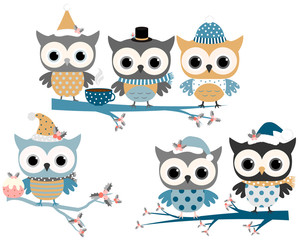 Cute winter owls with hats and scarves on tree branches in blue and grey colors