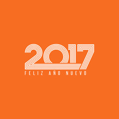 Happy new year 2017 FELIZ ANO NUEVO spanish graphic lettering greeting card theme mockup, season winter holidays orange poster background