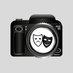 digital photo camera theater masks vector illustration eps 10
