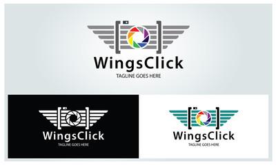 Wings click logo design template ,Photography logo design concept ,Vector illustration