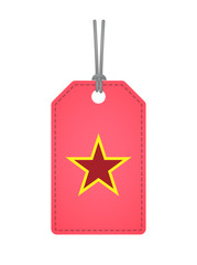 Isolated label with  the red star of communism icon