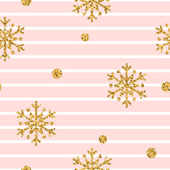 Christmas gold snowflake seamless pattern. Golden glitter snowflakes on pink and white lines background. Winter snow design wallpaper. Symbol holiday, New Year celebration Vector illustration