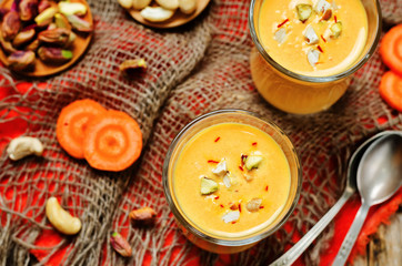 Indian sweet milk carrot dessert. Kheer