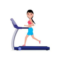 Vector cartoon sporty girl running on a treadmill