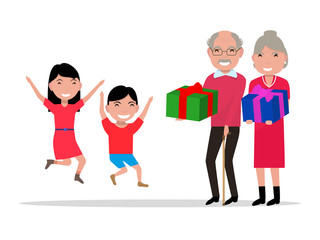 Vector grandparents give their grandchildren gifts
