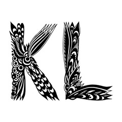 Decorative Hand-Drawn Letters - Ethnic Alphabet - K And L