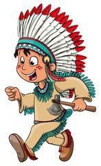 Vektor Illustration eines niedlichen Indianerjungen