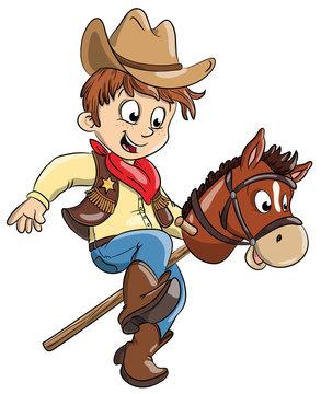 Vektor Illustration eines kleinen Cowboys mit Spielzeugpferd