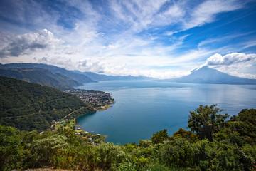 View of Lake Atitlan and Panajachel from San Jorge