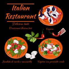Italian restaurant top view frame. Food menu design. Vector drawn sketch illustration.