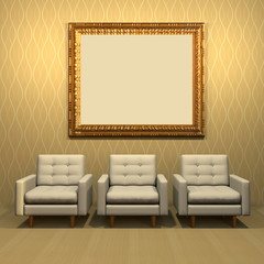 3d interior rendering of living room scene with three white modern armchairs, blank golden decorated Baroque picture frame and wallpaper background