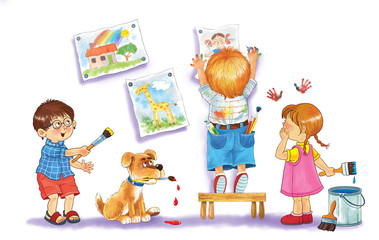 Cute boys and a girl hanging their drawings on the wall. Illustration for children