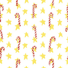 Vector Christmas simple hand drawn pattern with candies