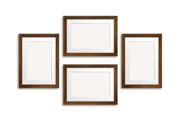 Frames collage, dark brown wooden design