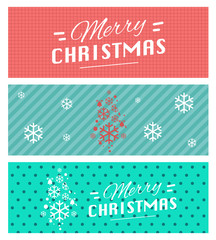 Merry Christmas and Happy New Year greeting card typography flyer template with lettering. Bright fall leaves. Poster, card, label, banner design set. Vector illustration