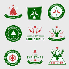 Set of Christmas Labels and Badges Vector Design Elements Set. Merry Christmas and Holidays Wishes Retro Typography Greeting Cards, Posters and Flyers, Vector Illustartor