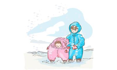 Niños paseando en la nieve del polo norte