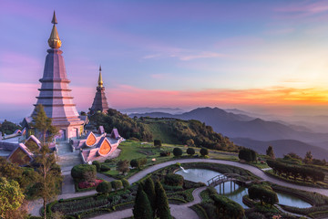 Noppamethanedol and Noppapol Phumsiri pagoda and picturesque sunset sky. Doi Inthanon national park, Thailand