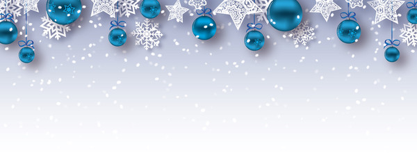 christmas baubles banner  - vector xmas / happy new year background (blue)