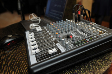 DJ mixer in the party