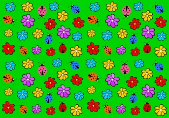 Cheerful children wallpaper with colorful flowers and ladybirds
