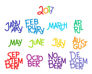 Lettering months of the year: December, January, February, March, April, May, June, July, August, September, October, November. 2017. Words for calendars and organizers. Vector illustration.