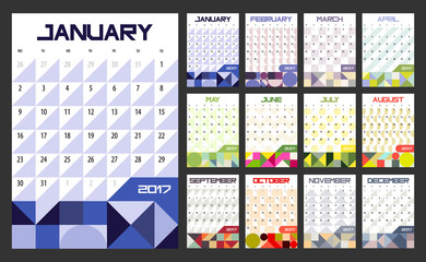Calendar Planner for 2017 Year. Vector design template with place for notes. Week starts Monday. A4. Vertical  orientation
